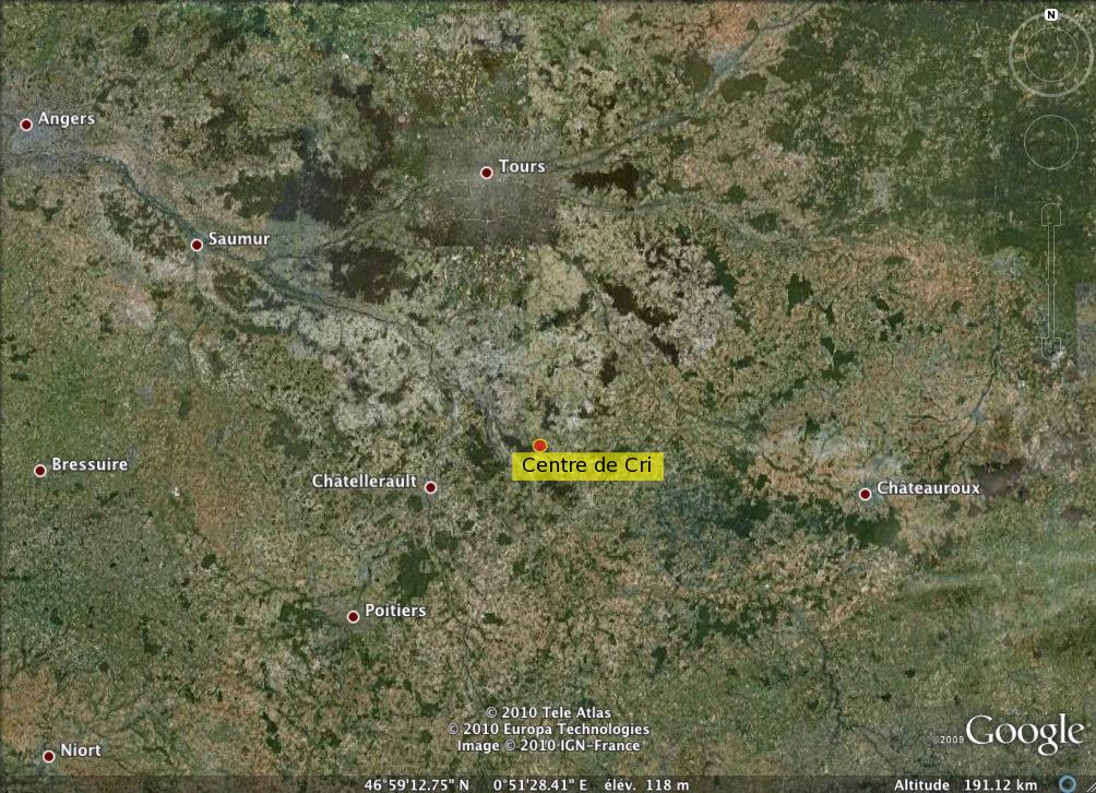 Localisation du Centre de Cri à l'échelle régionale.