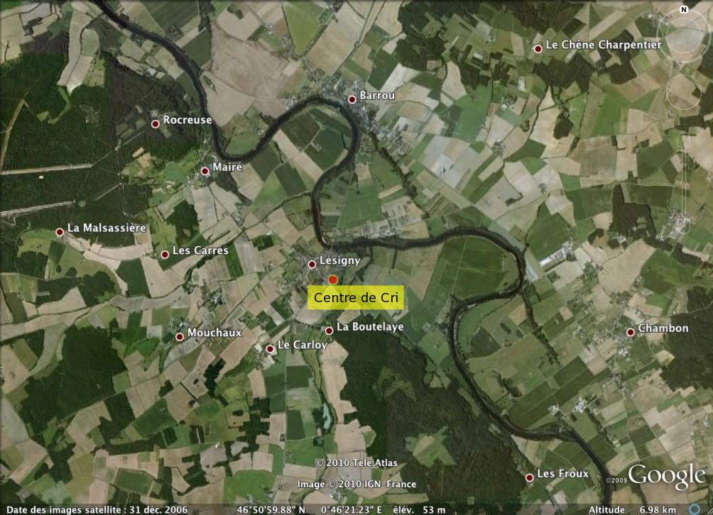 Localisation du Centre de Cri à Lésigny-sur-Creuse.
