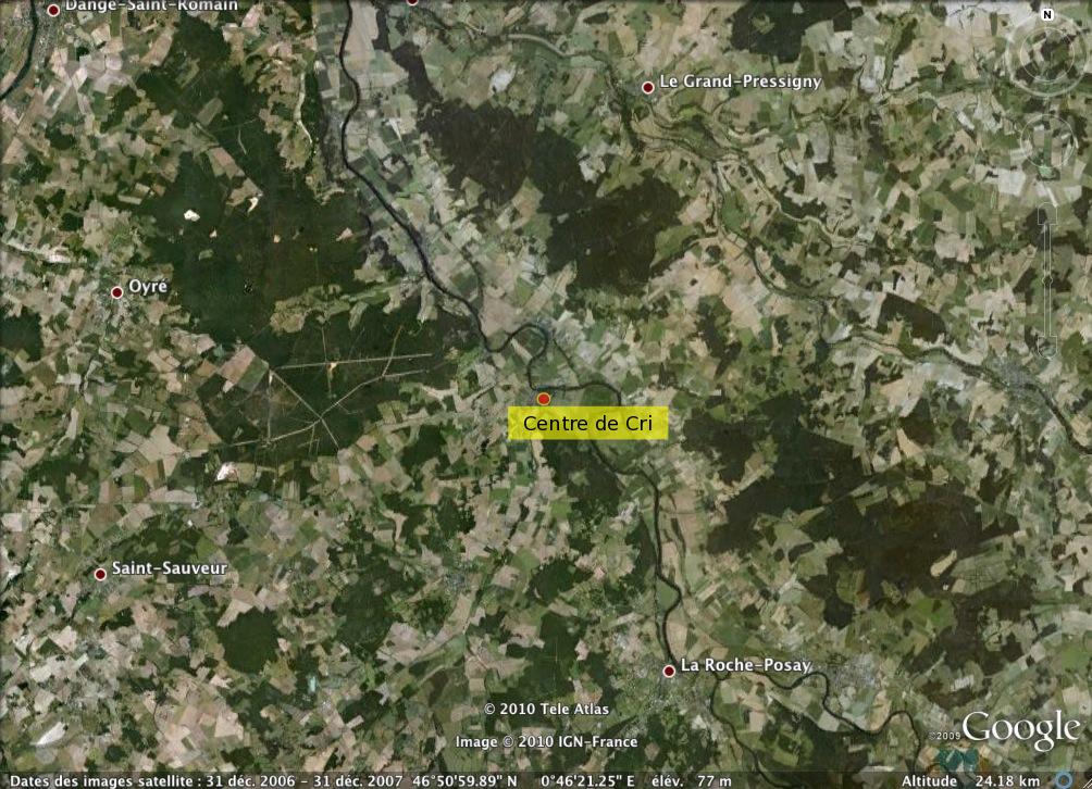 Localisation du Centre de Cri à une échelle plus locale.