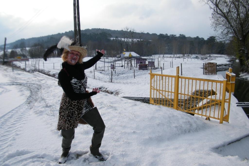 La neige, le site animalier et le chat botté